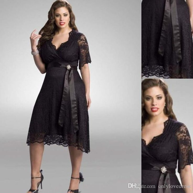 Plus Size Bridesmaid Dresses Black Lace Half Sleeves Tea Length A Line With Sash 2016 Fashion Greek Style Gowns Childrens Bridesmaid Dresses Country Bridesmaid Dresses From Onlylovedress, $70.75  Dhgate.Com
