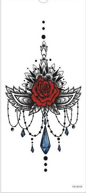 1pc Chest Flah Tattoo 24models large flower shoulder arm Sternum tattoos henna body/back paint skull rose necklace Black Fire