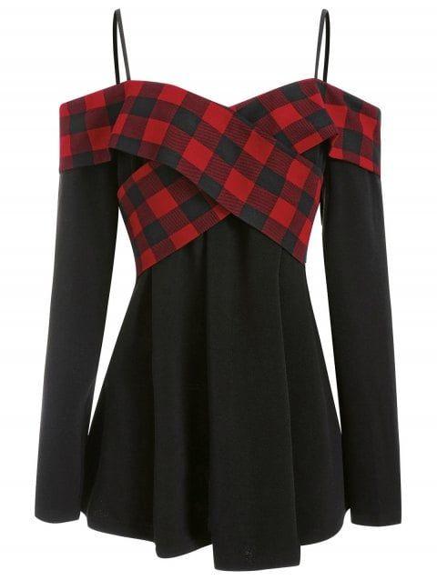 Plus Size Criss Cross Plaid Panel T-shirt - BLACK 2X 7