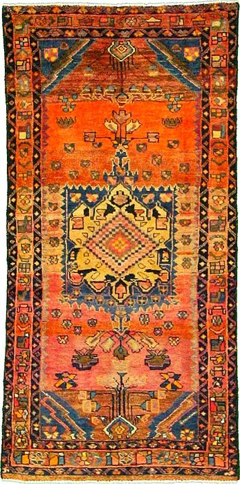 3 9 x 7 9 Orange Kurdish Berber Persian Rugs