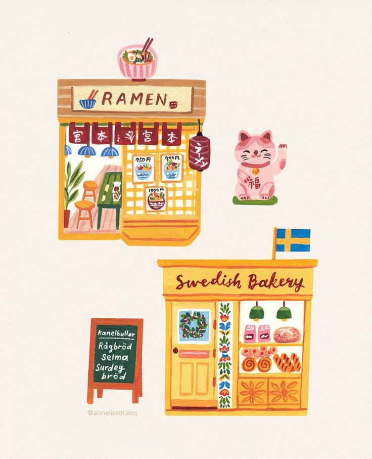 """881 Likes, 16 Comments - Annelies 아넬리스 (@anneliesdraws) on Instagram: """"My Swedish bakery & Japanese ramen restaurant  Thank you for helping me with the Swedish…"""""""