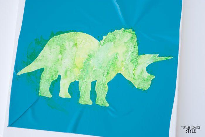 World Market Inspired Dinosaur Watercolor Canvas Art