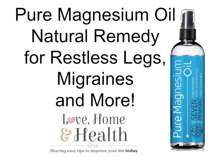 Magnesium Oil - Natural Remedy for Restless Legs, Migraines and More! @ www.LoveHomeandHealth.com