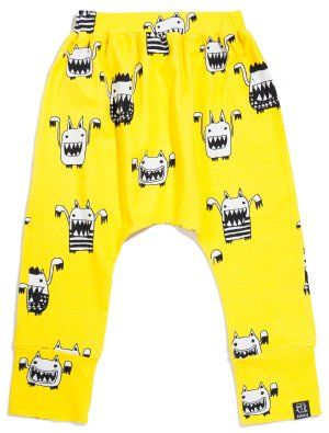 Kukukid Yellow Monsters Baggy Pants - available for international delivery from online kids store www.alittlebitofcheek.com.au
