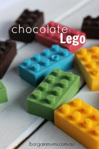 These DIY Chocolate Lego bricks are perfect for decorating birthday cakes, at Lego themed birthday parties, or just because.