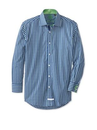 60% OFF English Laundry Men's Plaid Dress Shirt (Blue/Green)