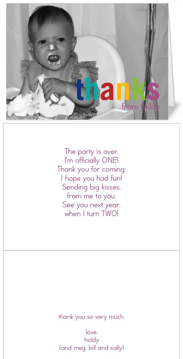wording ideas forst birthday party invitation%0A Easy  cheater  thank you cards for first birthday  Birthday Thank You Poem