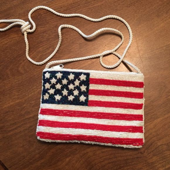American Flag Purse Beaded American flag purse. Fun for memorial weekend or 4th of July. Amanda Smith Bags