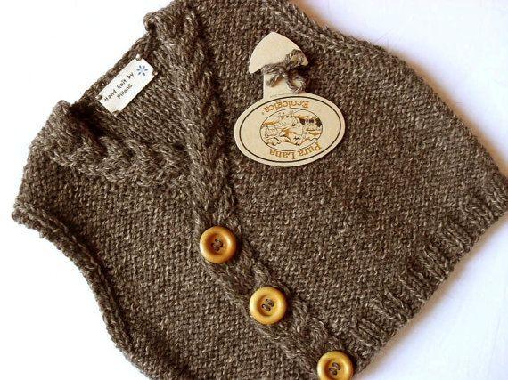 Hand knit Baby Vest Tweed Waistcoat Eco Friendly Tweed door Pilland