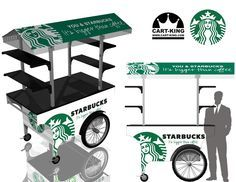A Starbucks Coffee Cart designed for portable use. Highly mobile for street vending. Designed and manufactured by www.Cart-King.com