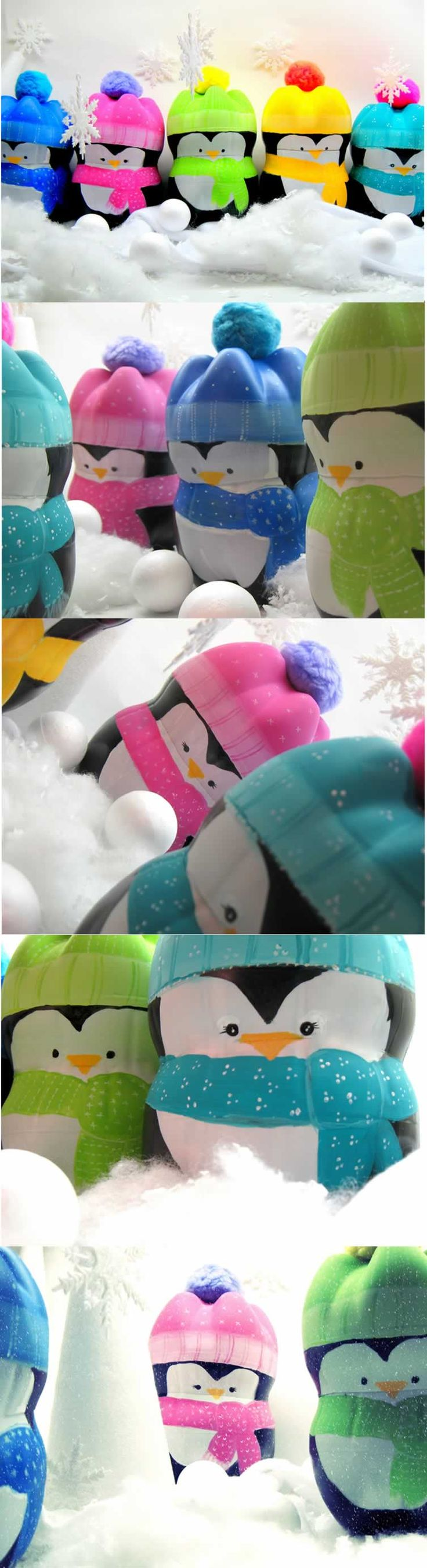 Pinguins de garrafa PET.