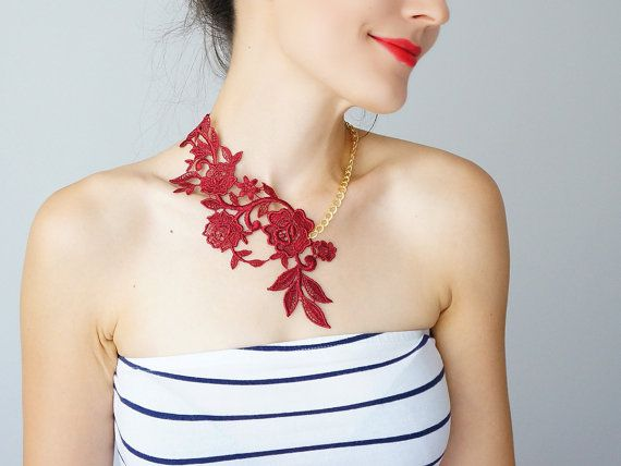 Hey, I found this really awesome Etsy listing at https://www.etsy.com/listing/178218076/lasata-burgundy-red-necklace-lace