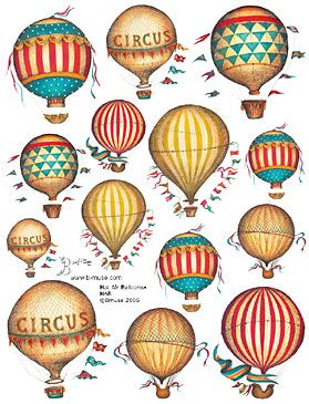 hot air balloons collage sheets