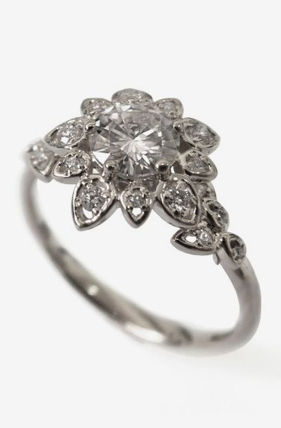 Diamond Art Deco Petal Engagement Ring - 18K White Gold and Diamond