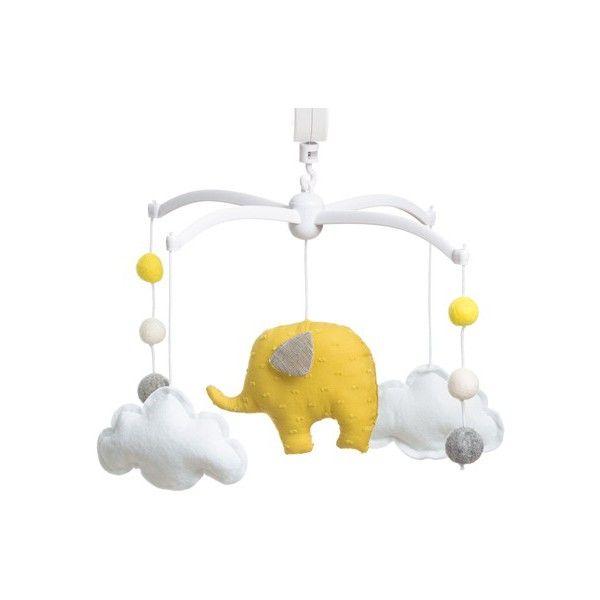 "Mobile musical ""elephant jaune"" - pouce et lina"