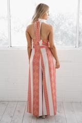 🌐 rochelle high neck jumpsuit - orange print - Esther Boutique