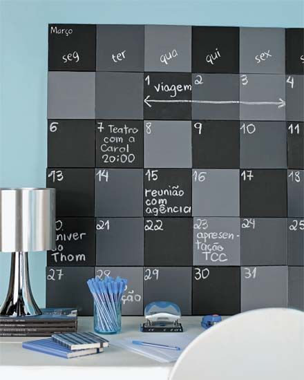 this site is in spanish, but you get the idea...different shades of chalkboard paint