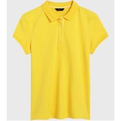 Gemustertes Pima-Poloshirt Kurzarm in Petite-Größe – Orange – 32-34 von Lands' End Lands' EndLands'