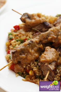 Healthy Beef Recipes: Beef Satay with Brown Rice. weightloss.com.au #HealthyRecipes #DietRecipes #WeightlossRecipes