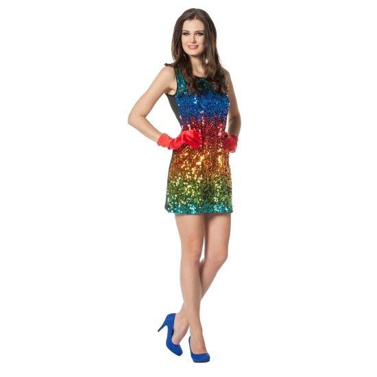 Regenboog pailletten jurkje voor dames. Sexy jurkje met gekleurde pailletten. Alleen de voorkant is voorzien van pailletten. Materiaal: 100% polyester.