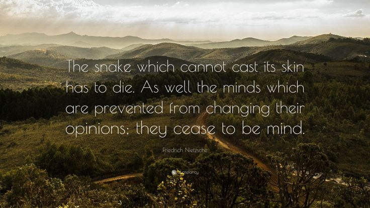 "Friedrich Nietzsche Quote: ""The snake which cannot cast its skin has to die. As well the minds which are prevented from changing their opinions; they cease to be mind."""
