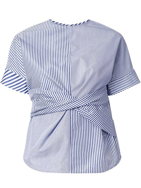 Shop Le Ciel Bleu striped twist T-shirt in Restir from the world's best…