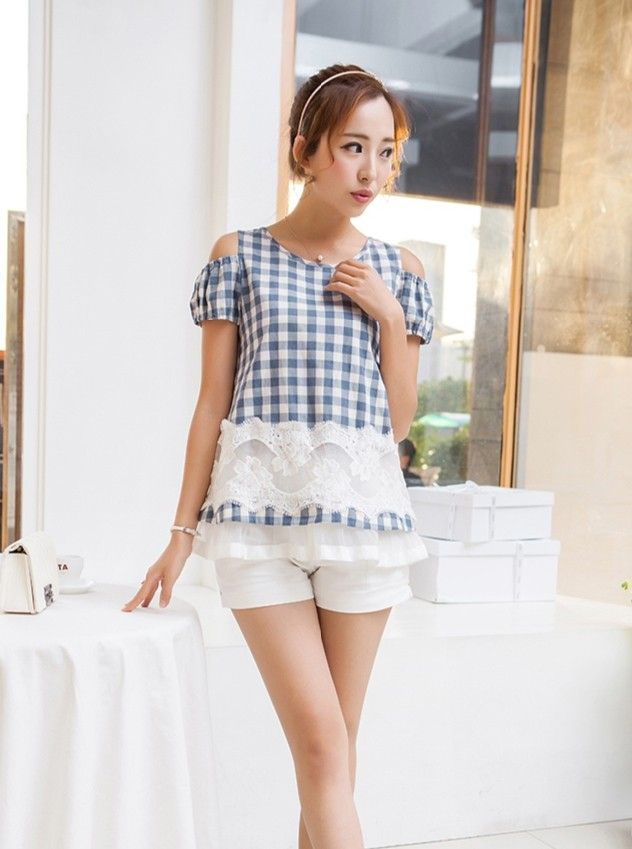 Shoulderless square pattern blouse YRB0790 #blue #blouses #koreanblouse #asianblouse