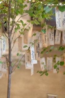 Put your place cards on a small tree and then plant it in your back yard.