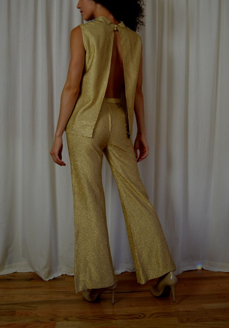Gold Lame Disco Outfit, Cowl Neck Top, Bell Bottom Pants, Open Back Top, Halloween Disco, Sexy Top and Pants, Waist 24 Inches by BuffaloGalVintage on Etsy