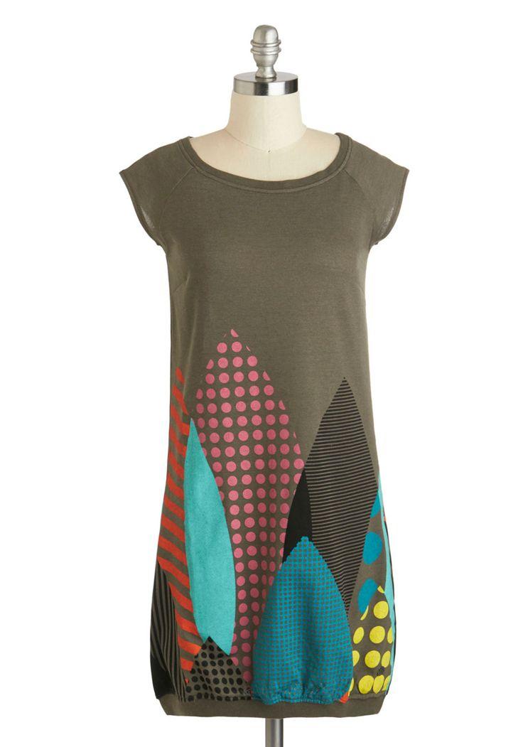 Groove in the Grove Dress by Skunkfunk - Grey, Multi, Print, Casual, Sack, Cap Sleeves, Mid-length, Scoop, Eco-Friendly