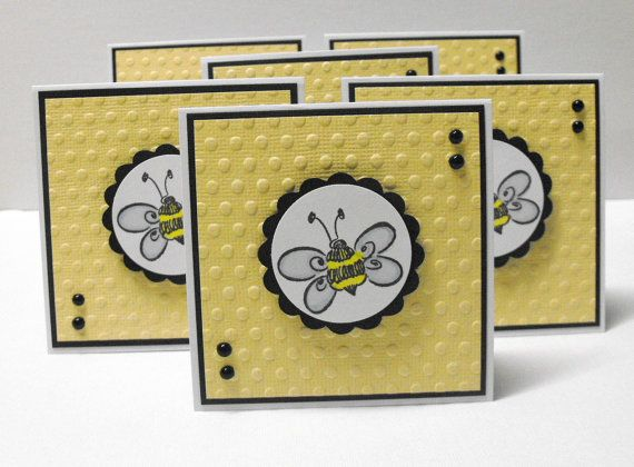 Bee Mini Note Cards  set of 6 by hdawnparratt on Etsy, $4.00