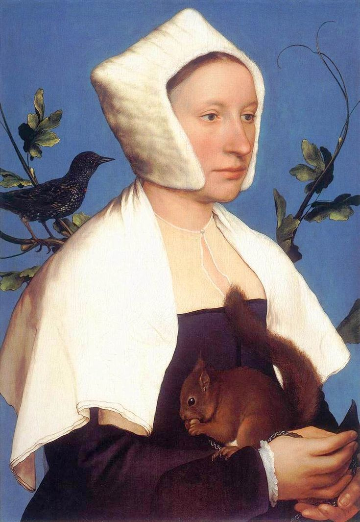 Portrait of a Lady with a Squirrel and a Starling. Hans Holbein the Younger, ca. 1526-1528.     Lady, holding a squirrel and with a starling on her shoulder, wearing what looks like a white mink curfew and a white linen shawl.