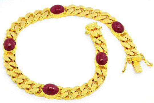 Massives Flachpanzer Goldarmband 5 Riesen-Rubine Luxus! - Gold, Platin Schmuck…