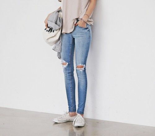 ripped jeans and a comfy tee