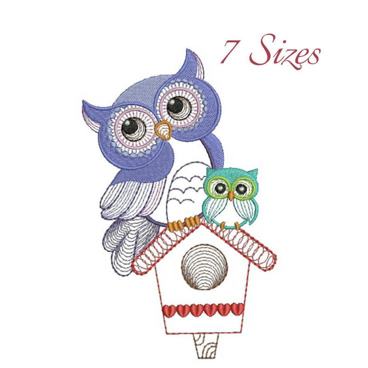 Owl bird feeder machine embroidery design instant digital designs download pattern girl designs kids hoop file towel animal by SvgEmbroideryDesign on Etsy