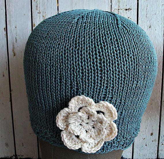 Spring and Summer Unique Flowered Knitted Hat by wishestogether, $24.50 nice for chemo patients with short hair
