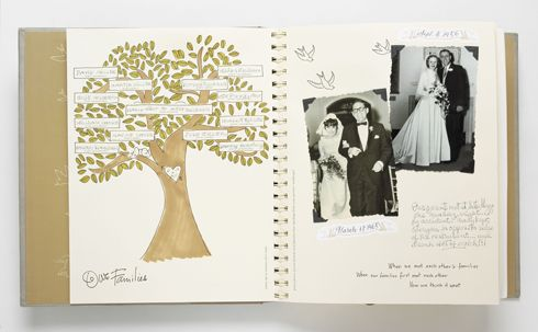 family tree in wedding scrapbook