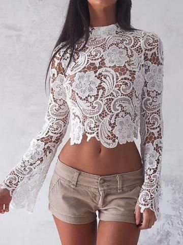 Women's Clothing 2018 Sexy Elegant Ladies Tops Women Sheer Blouse Crochet Lace Floral See Through Stand Collar Long Sleeve Casual Shirts Female Bright And Translucent In Appearance