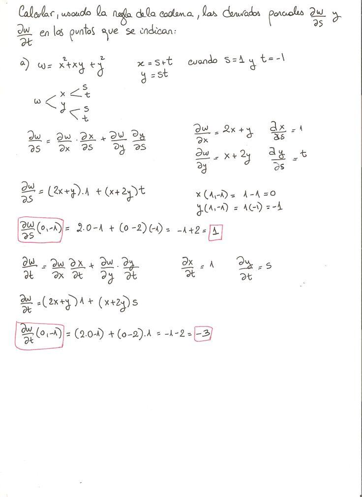 Ejercicio 4 resuelto. Tema: regla de la cadena funciones de varias variables