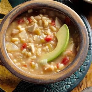 Chicken Soup with Beans Recipe -Loaded with classic Southwestern flavors, this soup is so satisfying. If you like, crush lime-flavored tortilla chips into serving bowls before you ladle in the soup. —Penny Peronia, West Memphis, Arkansas