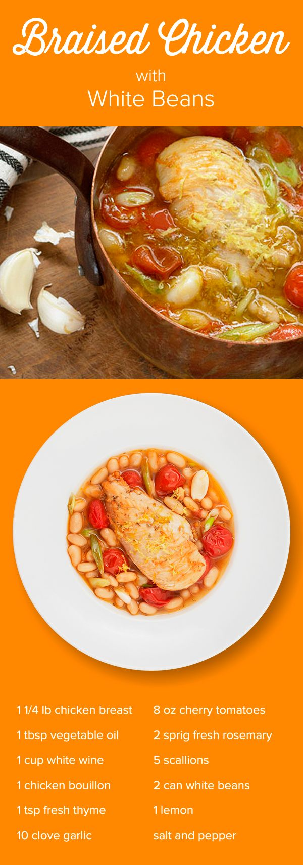 Who doesn't need a little more Mediterranean flair? Braised Chicken with White Beans and Tomatoes is a welcome break from boring dinners! This is ust one of the creative chef-designed 1/2 hr recipes you'll prepare when you try Just Add Cooking. Use Promo Code JUSTADDPINTEREST to get $30 off your first meal kit delivery.