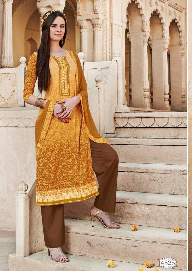 Light Mustard Colour Cotton Silk Brasso Party Wear Salwar Kameez