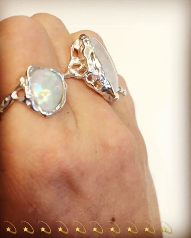 Handcrafted Holliegraphic opal and moonstone rings.  www.holliegraphic.com  Instagram @holliegraphic