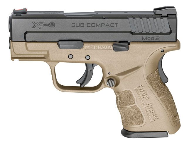 Springfield XD Mod.2 pistol now available in Flat Dark Earth for 9mm, .40 S&W, and .45 ACP.