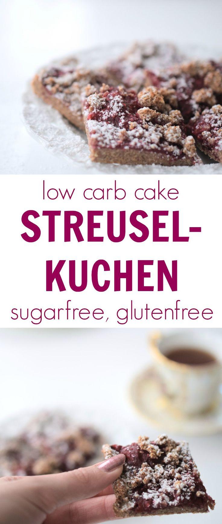 Low carb STREUSELKUCHEN with raspberry jam (sugarfree, glutenfree). Kohlenhydratarmer Kuchen ohne Zucker mit einer leckeren Himbeermarmelade. Rezept, Xucker, Erythrit, Stevia, Butter, Backen ohne Kohl (Favorite Cake Desserts)