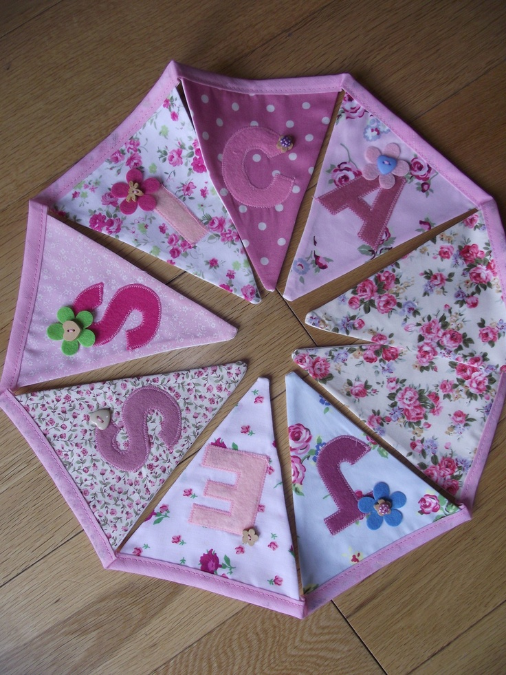 GIRLS PERSONALISED BUNTING Laura Ashley Cath Kidston Amy Butler Tanya Whelan | eBay