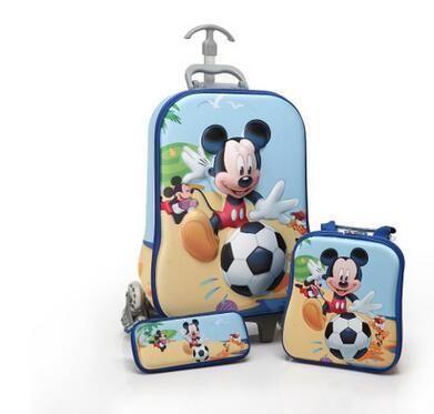 Cartoon 3D Kids Trolley Case girl's Boy's trolley school Bag with wheels Children Rolling bags case Children kids Wheeled Bags