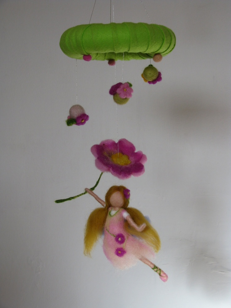 Waldorf inspired needle felted mobile  fairy by Made4uByMagic, $59.00
