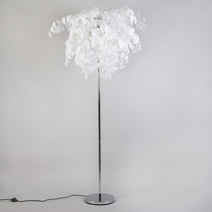 Moderne vloerlamp chroom met witte blaadjes Feder