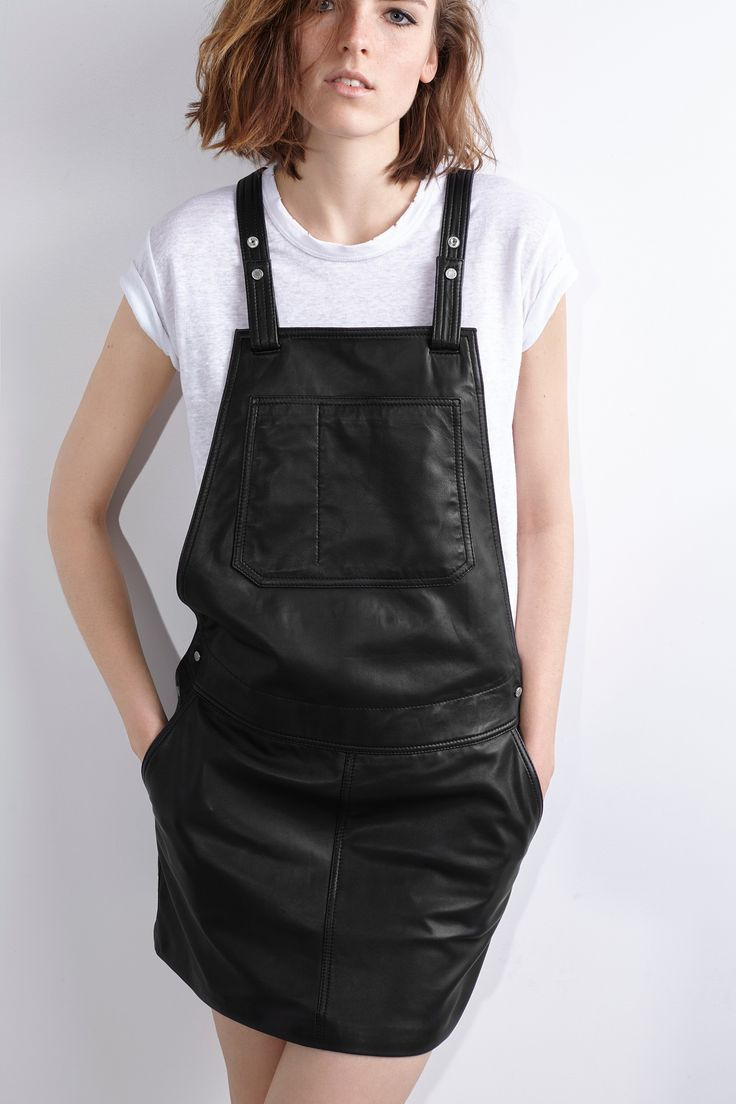 Zadig & Voltaire overalls, brushed silver metal snaps, adjustable shoulder straps, lining 100% polyester, overalls 100% lambskin. Model is 181cm/ 5'9
